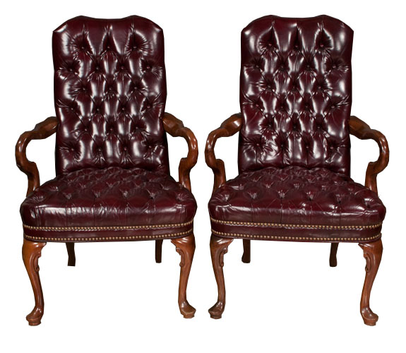 Pair of Queen Anne Style Library Chairs- SOLD - Pair Of Queen Anne Style Library Chairs- SOLD – Montgomery Antiques