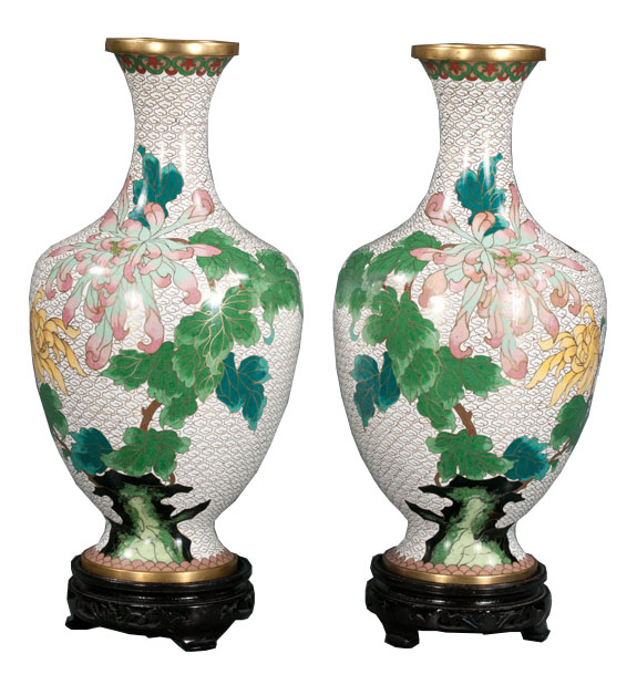 Pair Of Chinese Cloisonne Vases Montgomery Antiques Interiors